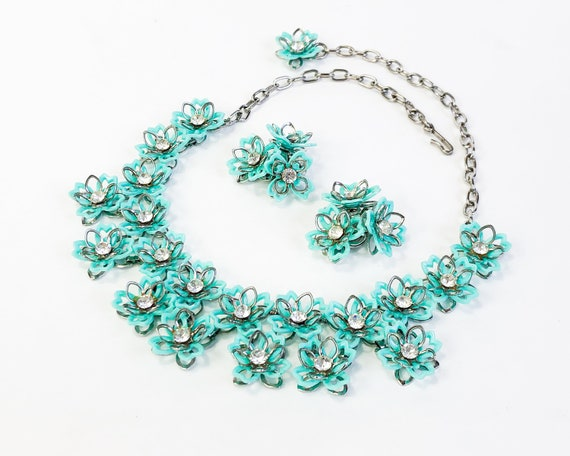 1960s Turquoise Flower Necklace Set   60s Turquois