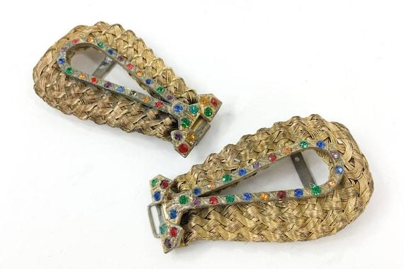 1930s Gold Brass Belt Buckle | 30s Gold Woven Buck