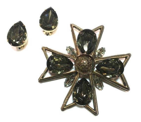 1960s Maltese Cross Brooch & Earring Set   60s Bro