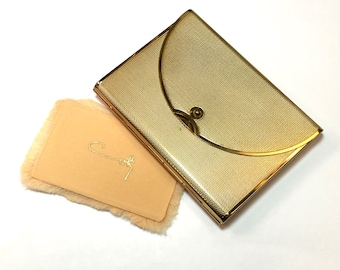 50s Gold Compact | Coty Brushed Gold Envelope Compact
