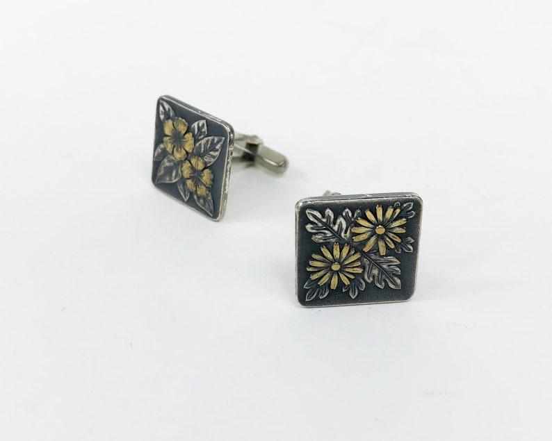 Washington /& Japan Cufflinks Silver Flower Cufflinks