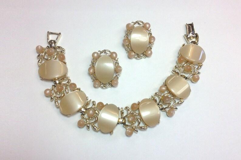 Star Thermoplastic Bracelet Earrings Set 50s Beige Bracelet /& Earrings