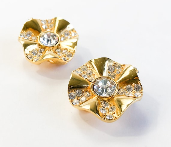 1980s Gold & Rhinestone Earrings | 80s Gold Flower