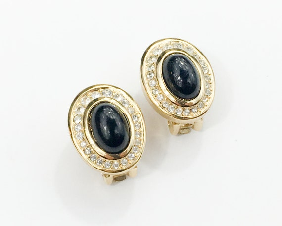 1980s Black & Gold Rhinestone Earrings | 80s Gold