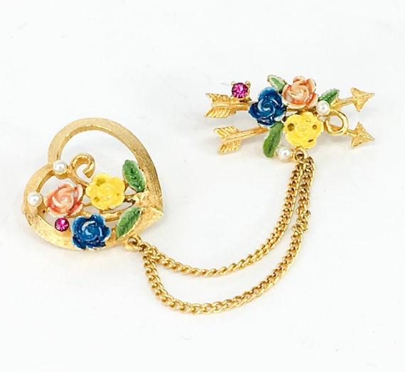 Weiss Sweetheart Flower Pin Set 1950s Love & Frien
