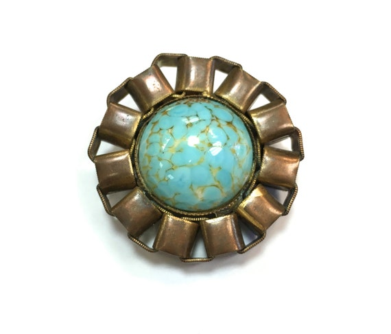 30s Turquoise Peking Glass Brooch | Art Deco Brooc