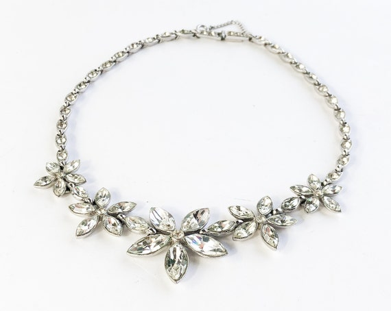1950s Rhinestone Flower Necklace | 50s Rhinestone