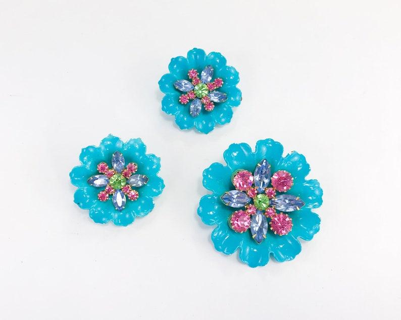 1960s Turquoise Flower Earrings Set 60s Blue Enamel Flower Jewelry Set
