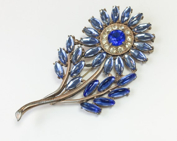 30s Blue Flower Brooch | Blue Rhinestone Flower Br
