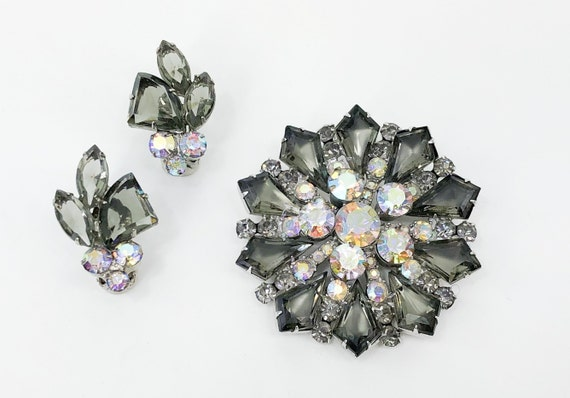 1950s Gray Rhinestone Brooch Set | 50s Gray Rhines