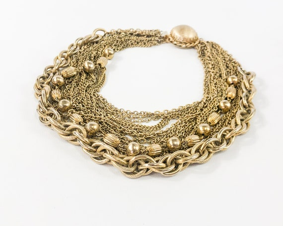 1950s Gold Chains Necklace | 50s Gold Multi Chain