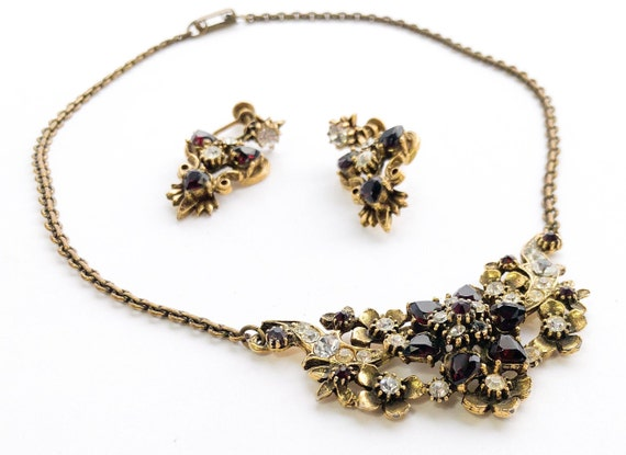 1940s Garnet Rhinestone Necklace Set | 40s Garnet