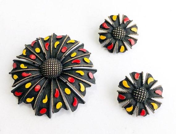 1960s Black Flower Brooch Earrings Set | 60s Matte