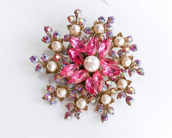 1950s Pearl & Pink Rhinestone Floral Brooch | 50s… - image 2