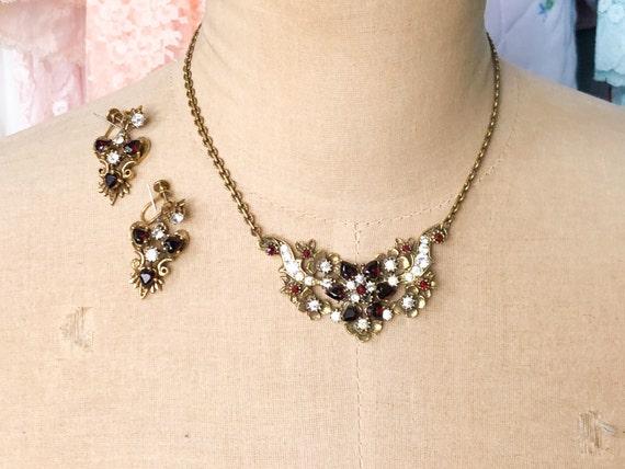 1940s Garnet Rhinestone Necklace Set | 40s Garnet