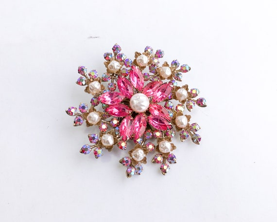 1950s Pearl & Pink Rhinestone Floral Brooch | 50s… - image 4