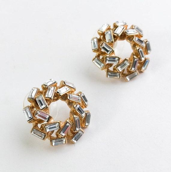 1980s Gold & Rhinestone Earrings   80s Rhinestone