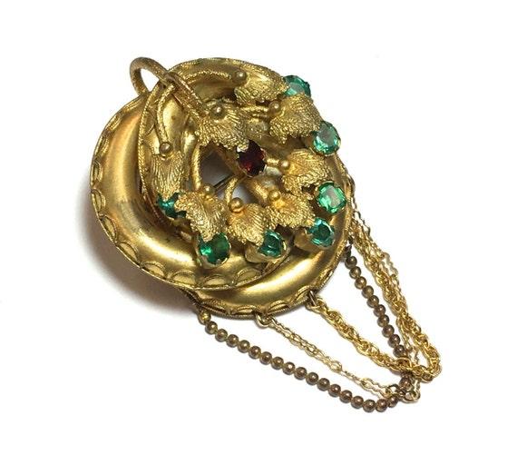 1920s Green Rhinestone & Brass Pendant | 20s Gold