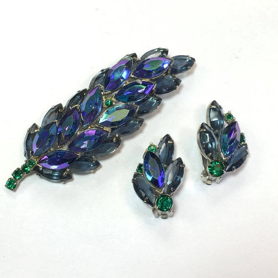 1950s Blue Rhinestone Brooch Set |  50s Royal Blue