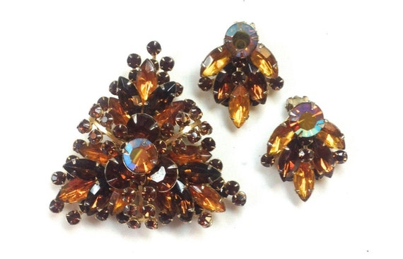 1950s Amber Rhinestone Brooch & Earrings | 50s Bro