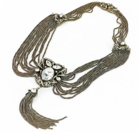1940s Silver Chain Necklace | 40s Silver Multi Cha