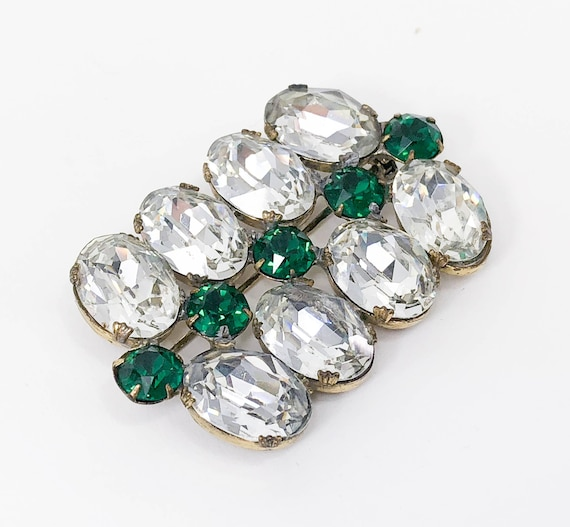 1930s Large Rhinestone Brooch | 30s Clear Ovals &