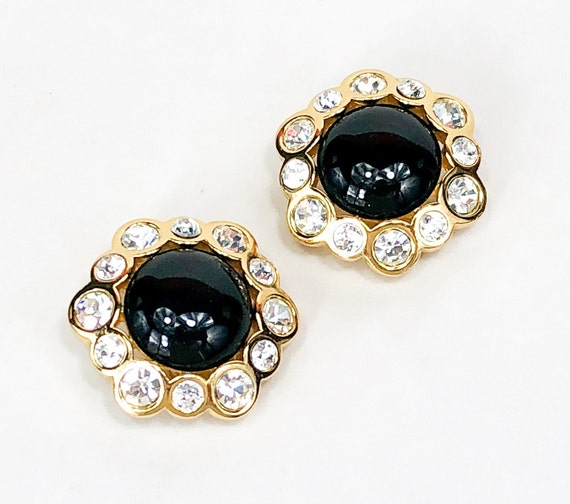 1980s Black & Rhinestone Clip Earrings | 80s Black