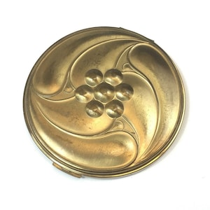 30s 40s Gold Compact Bourjois N.Y. Gold Art Deco Style Compact