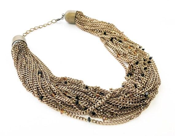 1980s Bronze Chains Necklace   80s Bronze Multi-Ch