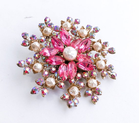 1950s Pearl & Pink Rhinestone Floral Brooch | 50s… - image 1