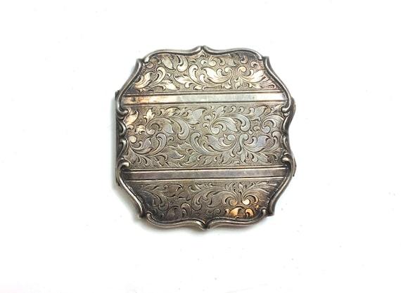 1930s Silver Compact | 30s Art Nouveau Compact | E