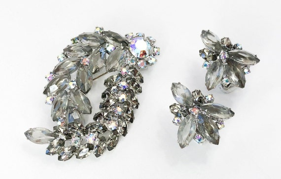 1950s Gray Rhinestone Brooch Set | 50s Smokey Gray