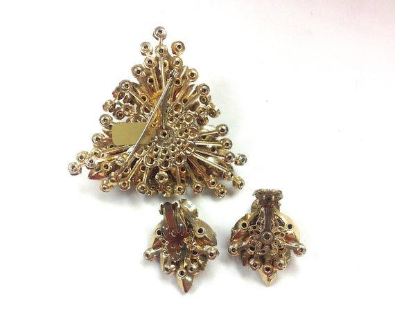 1950s Amber Rhinestone Brooch & Earrings | 50s Br… - image 3