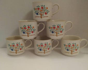 "Stoneware by Hearthside ""Eden"" pattern set of 6 Coffee Mugs"