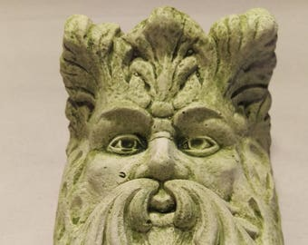Classic Green Man Wall Hanging/Sconce in Lightweight Cement