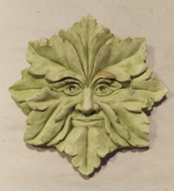 Hand Made Green Man Small Cement Wall Hanging Etsy