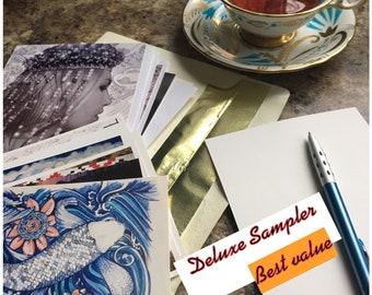 Deluxe Postcards Sampler/ notes/correspondence/ Ephemera/ thank you/paperie/ Writing/Art/Fashion/Illustration