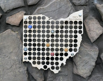Ohio Beer Cap Map Perfect for Man Caves