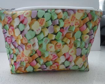 Candy Hearts Zipper Pouch Cosmetic Make Up Accessories Crayon Pencil Pen Case