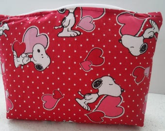 Snoopy & Hearts Zipper Pouch Cosmetic Bag Make Up Accessories Crayon Pencil Pen Case