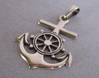 Mexico 925 Sterling Silver Taxco Sailor Anchor Navy Jesus Mariner Sea Diver Sailors Cross Pendant