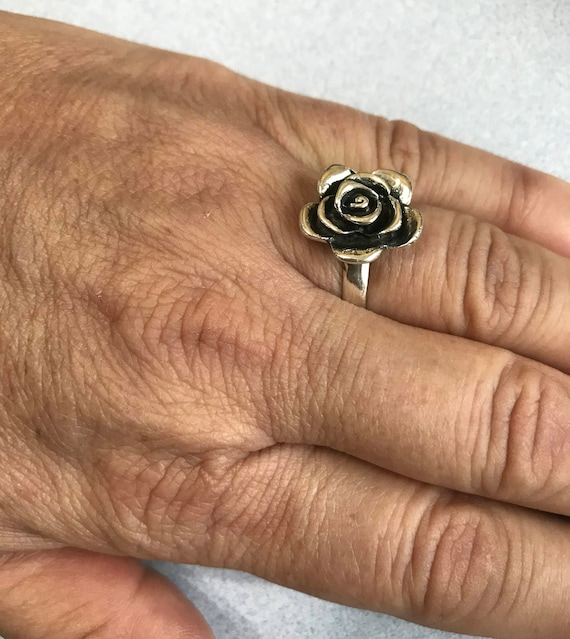 Mexican Silver Taxco Oxidized Etched Filigree FLOWER /& HEARTS Ring Sizes Choose