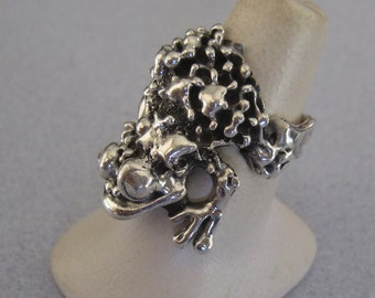 Huge FROG TOAD Good Luck Lucky 925 Sterling Silver Taxco Mexico Animal Big Ring Size  8.75