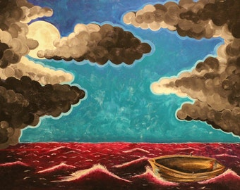 """Matted 5x7 Acrylic Painting: """"Out of the Boat"""""""