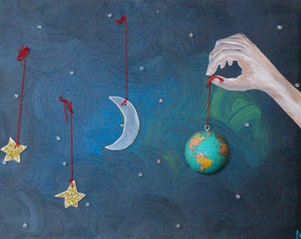 """Matted 5x7 Acrylic Print Painting: """"You Place the Stars"""""""