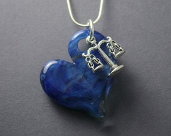 """Handmade """"Love Justice"""", Scale and Hand Blown  Glass Heart Necklace"""