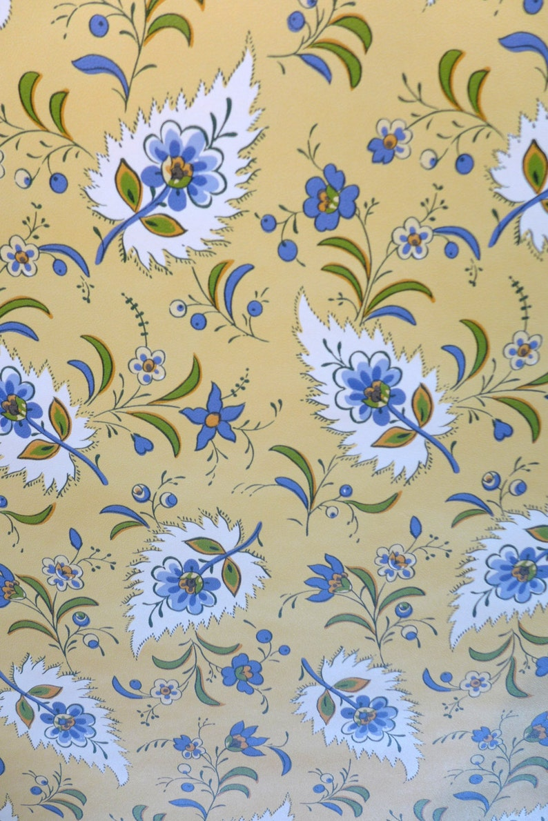 Motif Vintage Wallpaper French Country Floral Yellow Blue Etsy