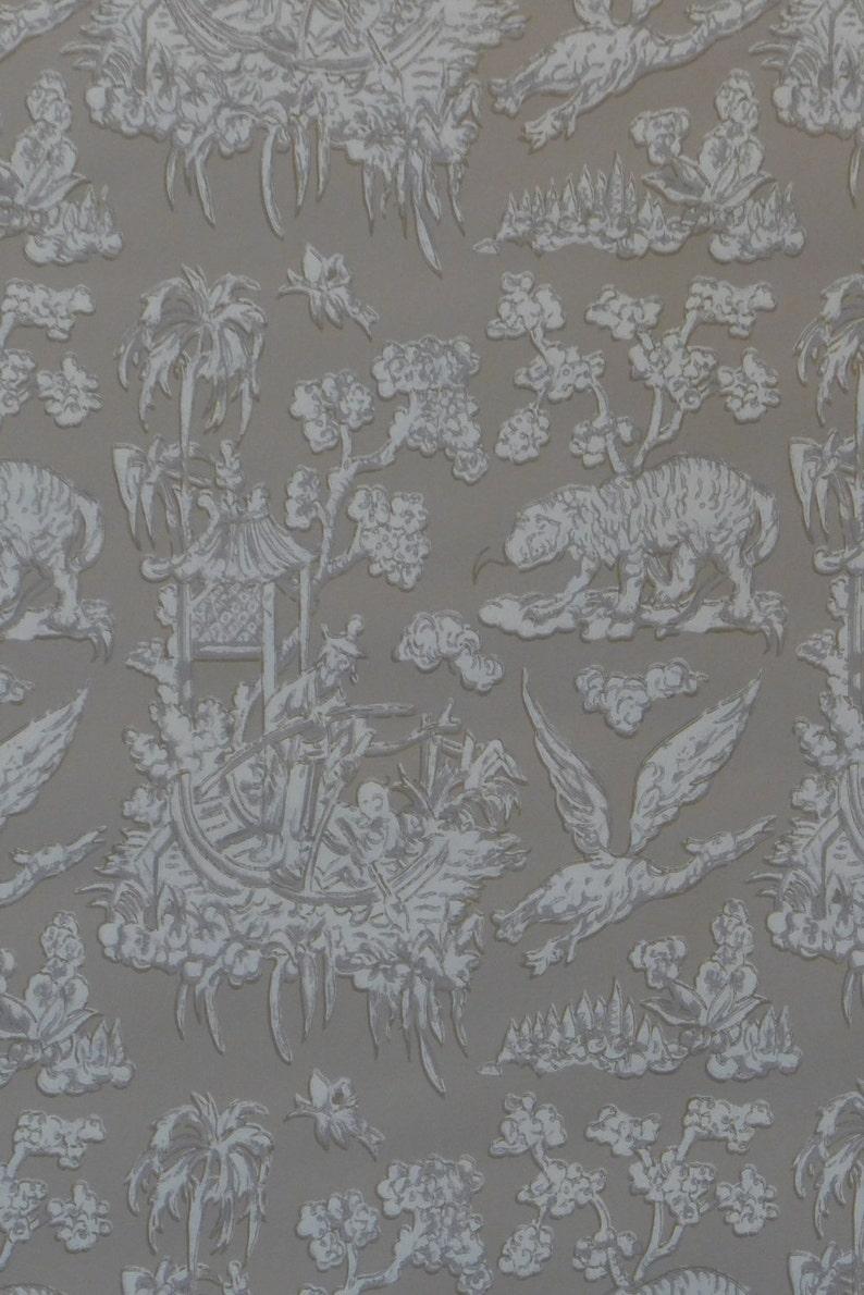 Motif Vintage Wallpaper Oriental Japanese Gray Tan Cream