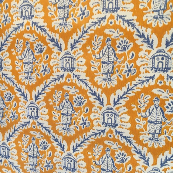 Motif Papier Peint Vintage Chinoiserie Oriental Orange Bleu Etsy