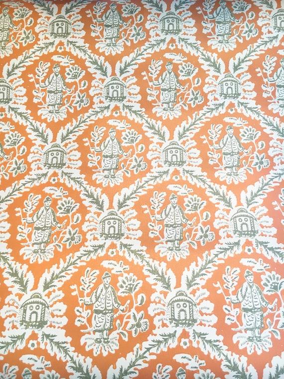 Vintage Wallpaper Chinoiserie Oriental Japanese Orange by Motif